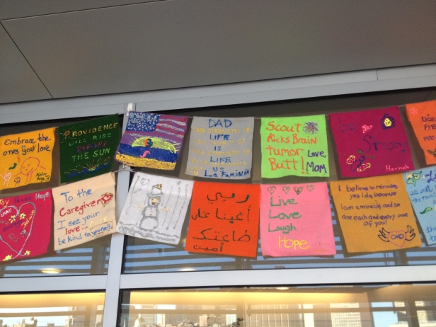 Heartfelt messages line MGH's Cancer Center hallway. Click the picture to get a closer look.
