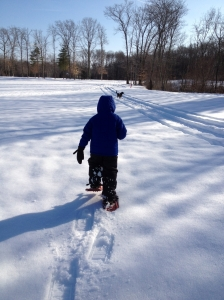 Out for a snowshoe walk with my Z-man and Z-dog.