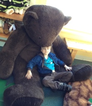 Chilling at the Vermont Teddy Bear Factory.