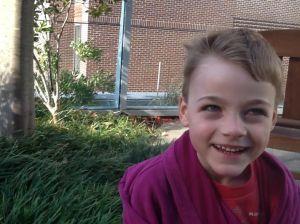My son in MGH's Healing Garden